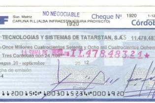 Después de un proceso que inició en agosto de 2012, el mismo Francisco López, vicepresidente de Albanisa y firma libradora de Caruna, autoriza el cheque a favor de Tectasa.