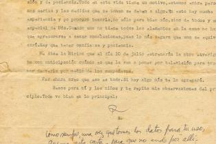 Última página de la carta de Roque a Aída del 24 de junio de 1973.