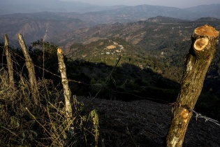 La aldea Carrizal Grande, ubicada en un ancho valle en la región montañosa de Jalapa.