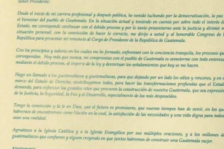 Copia de la carta de renuncia del presidente Otto Pérez Molina.