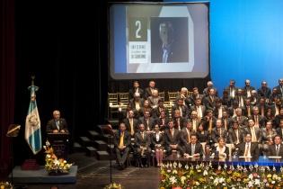 El presidente Otto Pérez Molina inicia la presentación del informe de su segundo año de gobierno.