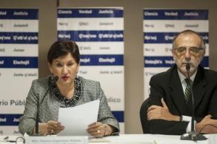La Fiscal General, Thelma Aldana, y el Comisionado, Iván Velásquez, en una conferencia de prensa en 2014