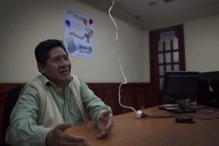 El alcalde de Nebaj, Pedro Cobo Raymundo en su oficina.