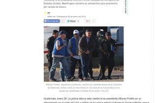 Publicación de la captura de Alfonso Portillo en Izabal en el medio digital El Faro.