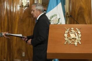 El entonces presidente Otto Pérez Molina luego de la última conferencia que ofreció el pasado lunes en casa presidencial.