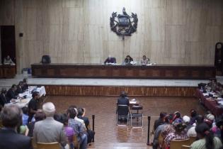 Gustavo Porras, testigo propuesto por la defensa, indicó que el ataque contra la población ixil no se debió a razones étnicas. Foto de Luis Echeverría