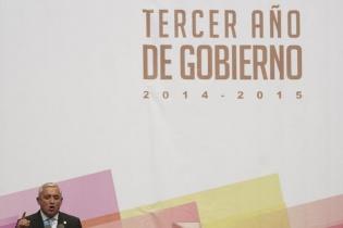 """Otto Pérez Molina dijo que con satisfacción y optimismo """"puedo decirles que Guatemala está adelante"""". [Sandra Sebastián]"""