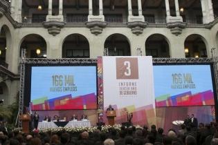 Pérez Molina destacó avances en seguridad, nutrición y empleos, entre otros, en su tercer informe.