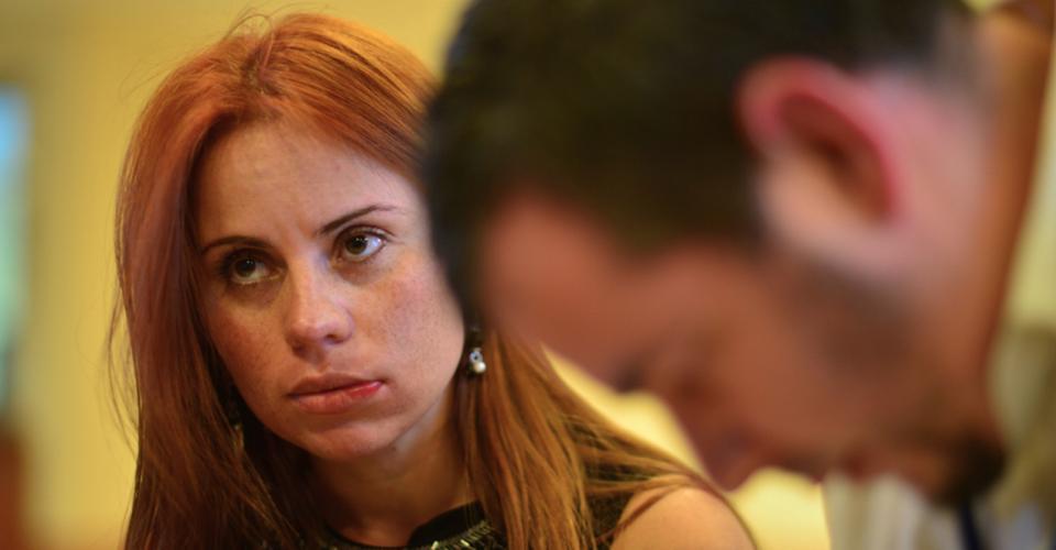 La presentadora de noticias, Susana Morazán, el día en que fue agredida.