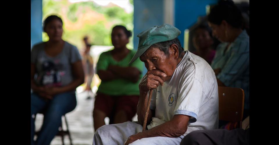 Fidel García, 86, originario de Olopa, Chiquimula, es el más anciano de los habitantes de la comunidad