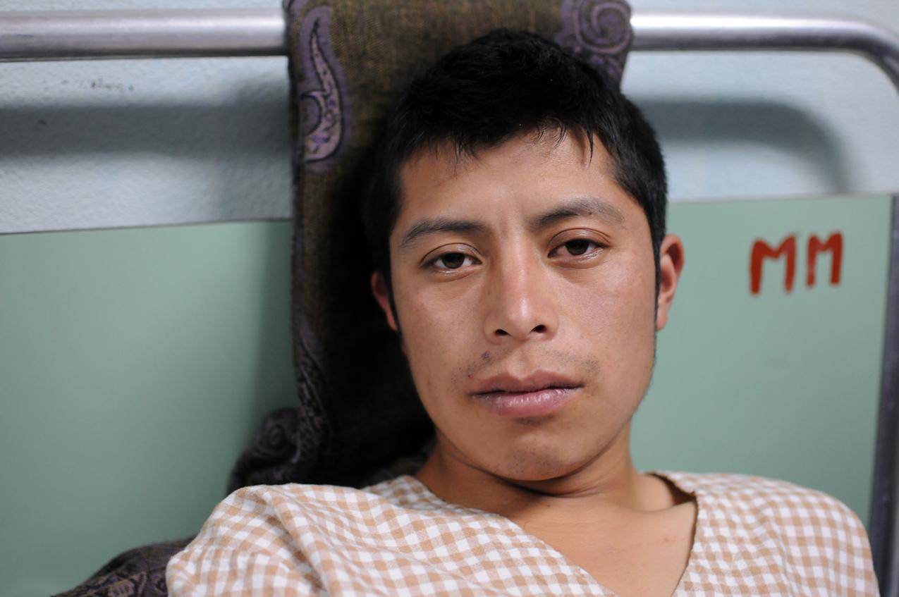 Santiago Monroy, herido con bala.