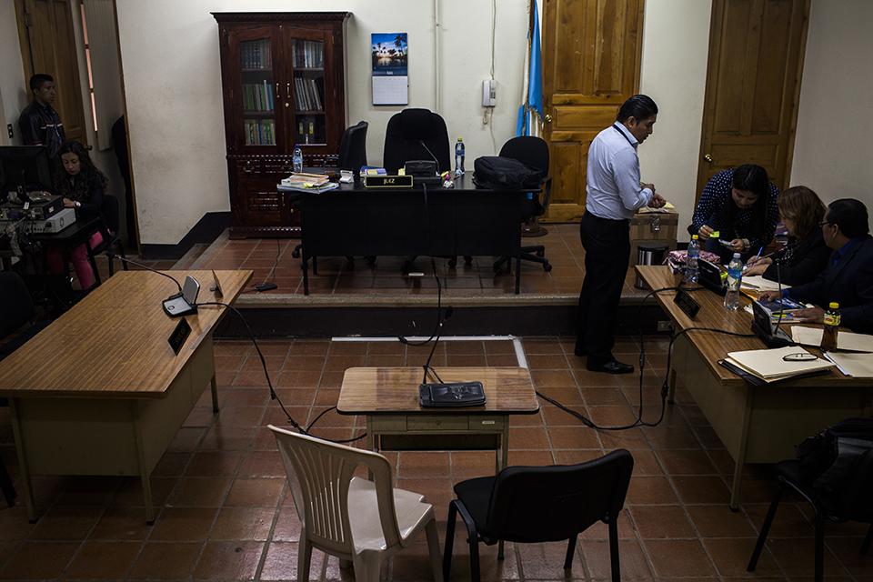 La sala de tribunal donde serán escuchados los testigos del caso genocidio