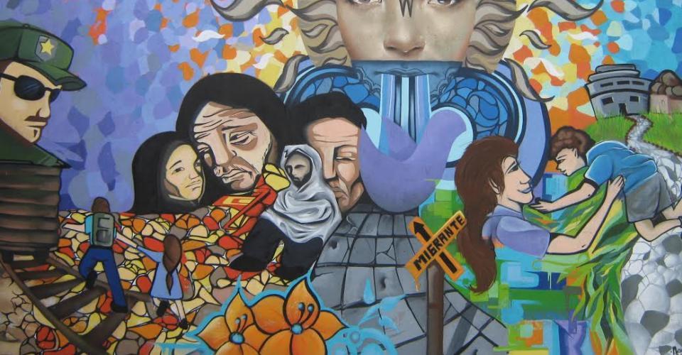 Mural del Migrante en el Centro de Derechos Humanos Fray Matías de Córboda, en Chiapas, México.