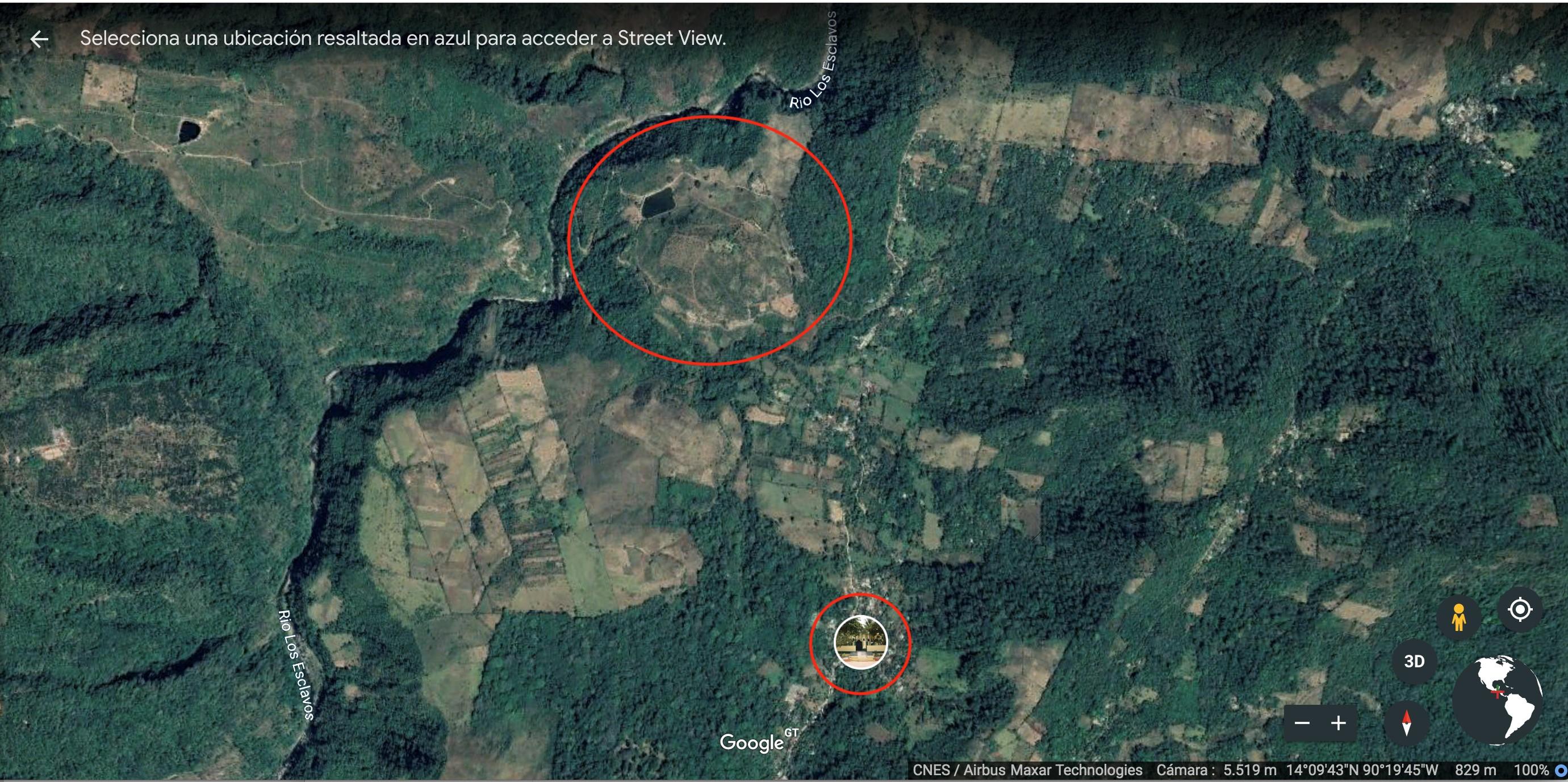 Vista aérea de la hidroeléctrica El Libertador. Abajo, se encuentra el parque central de la aldea San Miguel Aroche